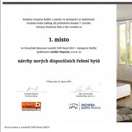 První místo v soutěži TOP Panel 2013